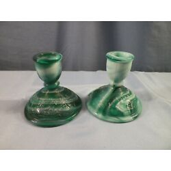 Pair Set of 2 Imperial Green Slag Glass Candlesticks Candle Holders