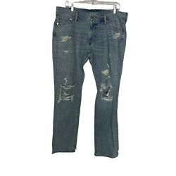 Abercrombie & Fitch Langdon Slim Stretch Jeans Light Wash Distressed Mens 36