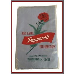 Vintage Lady Pepperell Red Label Pillowcases (2) Blue - 42  x 36  - NIP