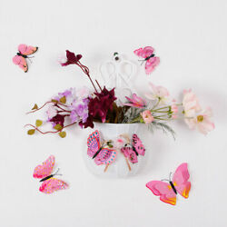 12pcs 3D Butterfly Wall Stickers Decal Sticker for Room Pink