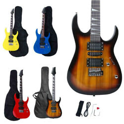 New 6 Color 170 Burning Fire 22 Frets Practice Basswood Electric Guitar Set