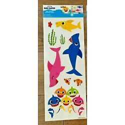 9 Piece Pinkfong Baby Shark Fish Theme Removable Wall Decals NEW 1 Sheet!