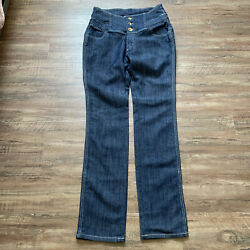 Apple Bottom Jeans Dark Wash High Rise Gold Embellished NWT Size 11/12 TALL