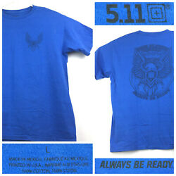 5.11 Tactical Mens Large (43 in Chest) Blue Eagle 'Always Be Ready' Logo T-Shirt