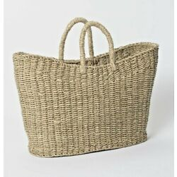 19'' x 9'' x 16'' Tapered Oval Seagrass Basket Natural -Threshold with Studio McGee