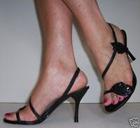 LADIES BLACK STRAPPY  SLINGBACKSTILETTO WEDDING PROM SANDALS SHOES 6/39