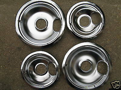 Stove Range Cooktop Chrome Steel Drip Bowl Pans 4 Pack Ebay