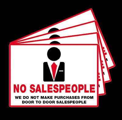 5 x no door to door sales people sticky back stickers ebay for Door to door sales
