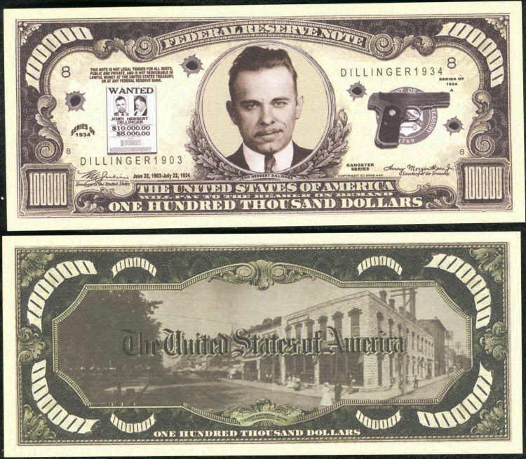 John dillinger wanted 100 000 dollar lot of 2 bills ebay for 100000 dollar house