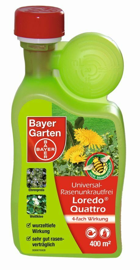 400 ml bayer loredo quattro universal rasenunkrautfrei gegen unkr uter im rasen ebay. Black Bedroom Furniture Sets. Home Design Ideas