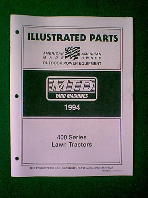 Mtd Yard Machinetractor 400 Series Parts Manual 1994