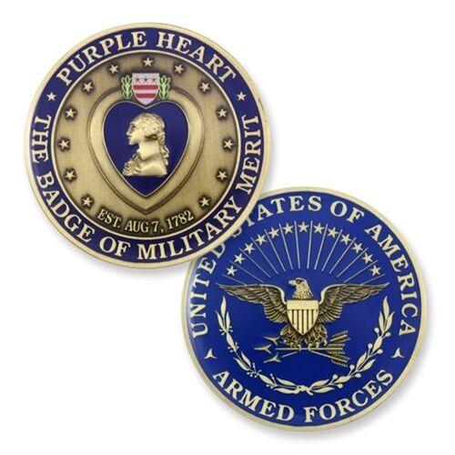 Purple Heart Badge Of Military Merit 1 75 Quot Challenge Coin