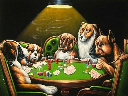 New Hand Painted Velvet Dogs Playing Poker Game Classic