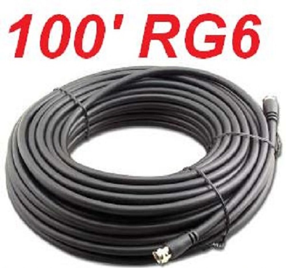 100 ft rg 6 satellite coax cable rg6 coaxial hd antenna - Cable antena satelite ...