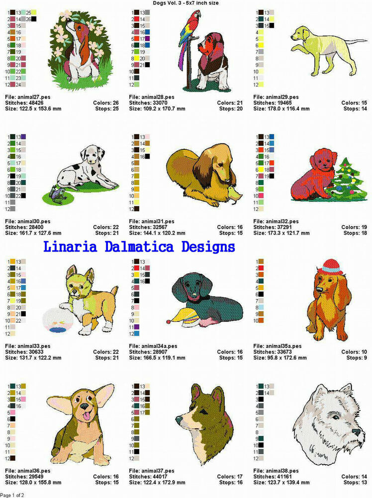 Pets dogs v 3 5x7 ld machine embroidery designs ebay for Embroidery office design version 7 5