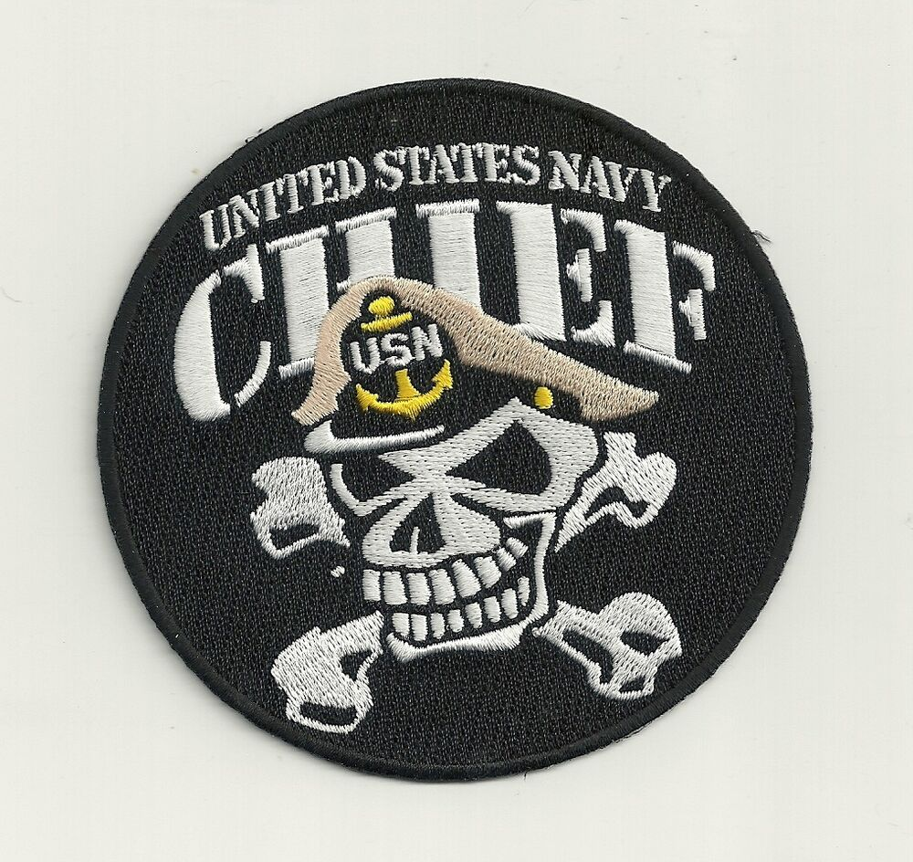 navy chief petty officer skull bones cpo 4quot embroidered