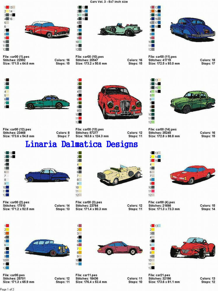 Cars vol 3 5x7 ld machine embroidery designs ebay for Embroidery office design version 7 5