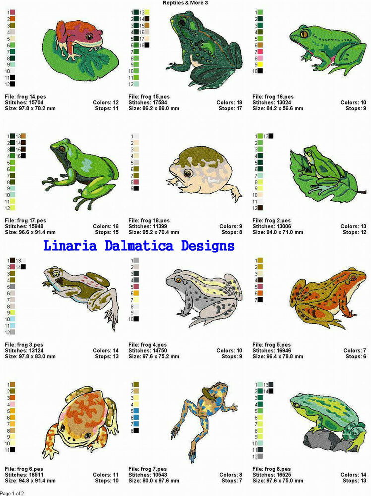 Frogs reptiles more machine embroidery designs ebay