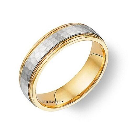 14k two tone gold mens womens wedding bandshammered for Two tone wedding rings for women