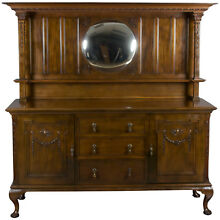 Antique English Furniture Solid Mahogany Sideboard Server Buffet Tall w Mirror