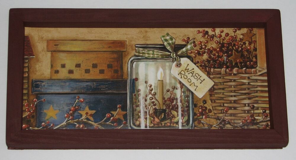 Wash Room Primitive Country 6 Inch X 12 Inch Wall Decor