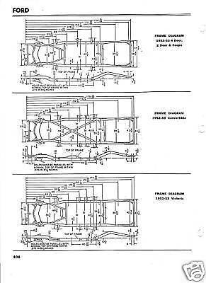 1952 1953 ford nos frame dimensions alignment specs