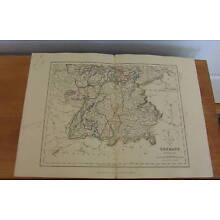 Vintage Map GERMANY (Southern Part) circa 1850