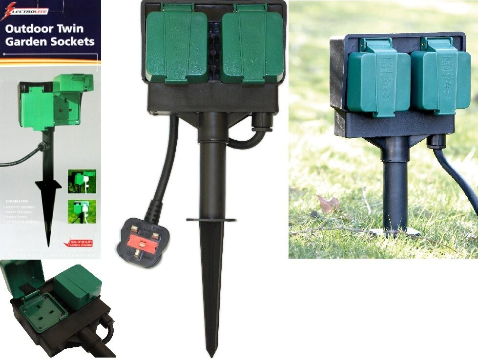 2 Way Garden 4m Cable Extension Twin Socket With Stand