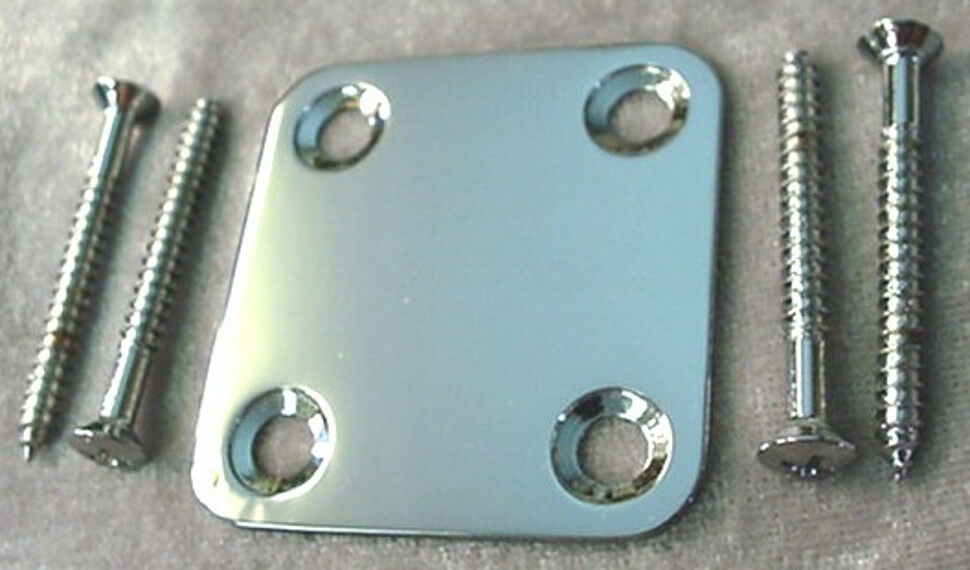 small square chrome neck mounting plate guitar or bass ebay. Black Bedroom Furniture Sets. Home Design Ideas