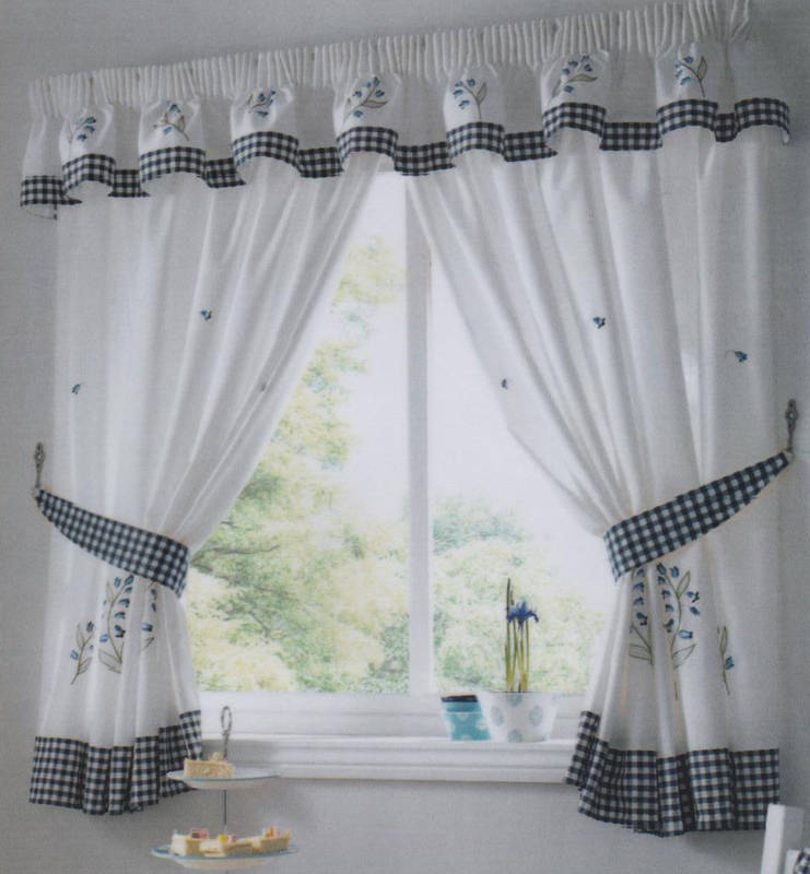 Kitchen Curtains Blue Bell Includes Tie Backs (pelmet Sold