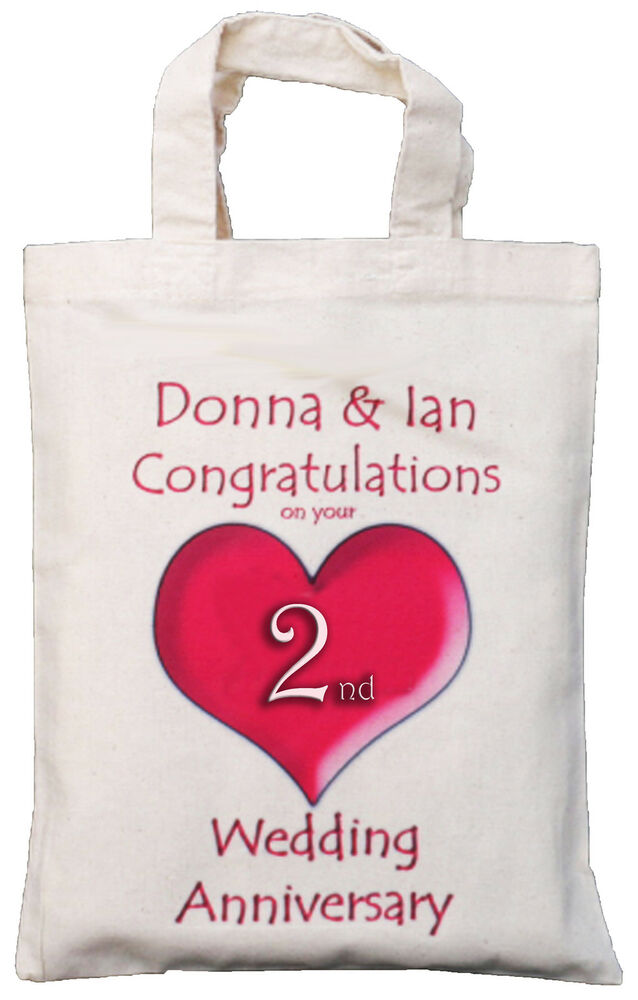 2nd Wedding Anniversary Gift : PERSONALISED2nd WEDDING ANNIVERSARY COTTON GIFT BAG eBay