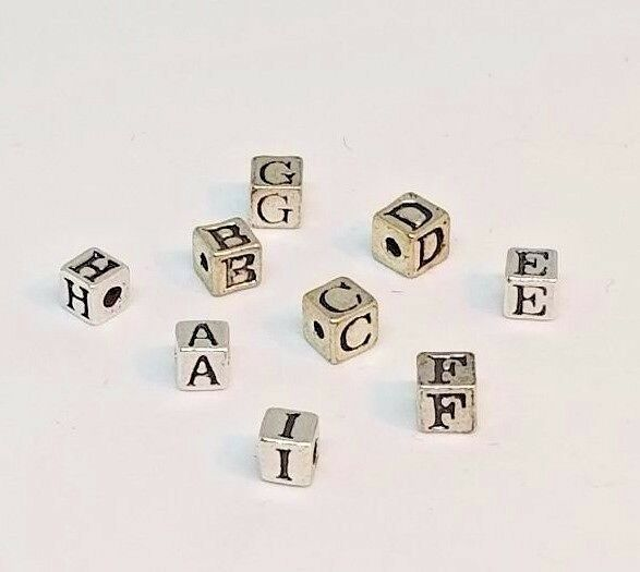 Silver Alphabet Beads: Beads, Sterling Silver: Alphabet, Square, 4mm, Letters