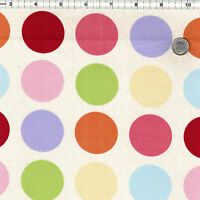 "COTTON 100% UPHOLSTERY CURTAIN COVERING FABRIC BIG POLKA MULTI-COLORED DOT 44""W"