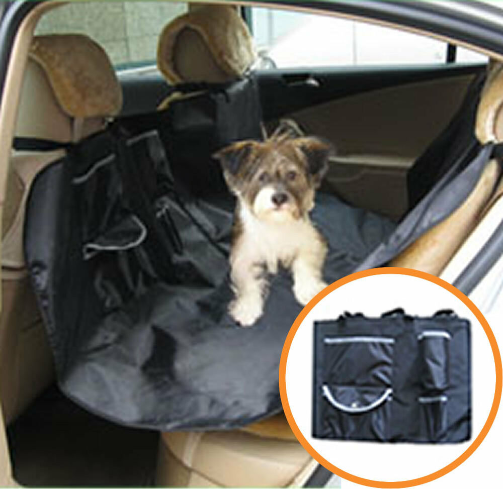 new hammock pet dog cat car seat cover black w pockets ebay. Black Bedroom Furniture Sets. Home Design Ideas
