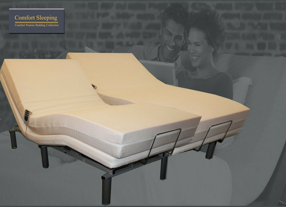 Deluxe electric adjustable bed and memory foam mattress queen ebay Queen bed and mattress
