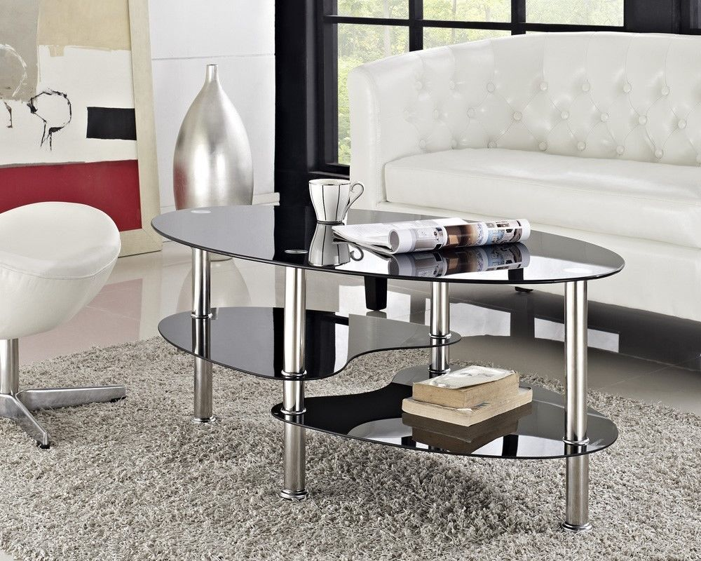 oval coffee table black glass table new chrome metal ebay. Black Bedroom Furniture Sets. Home Design Ideas