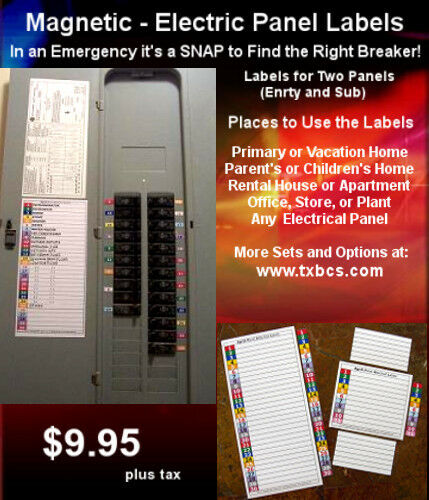 Circuit Breaker Panel Directory Labels 30  U0026 11 Position