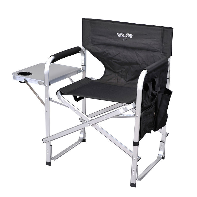 Camping Folding Director Chair W Table 1204black Flag Ebay