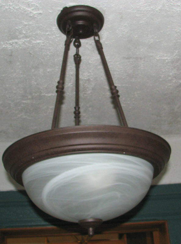 Pendant Dome Light Fixture Dust Brown Finish Alabaster