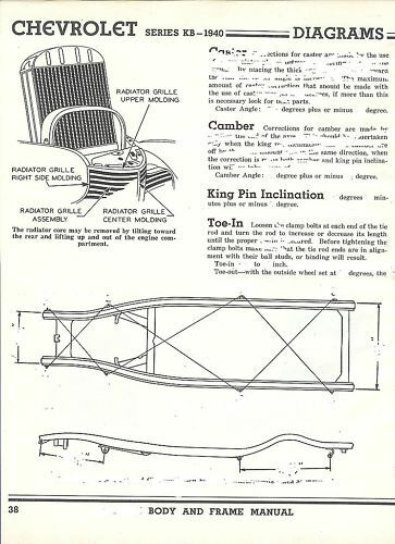 1940 chevy series kb nos frame dimensions align specs