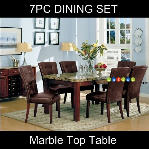 7PC Marble Top Dining Room Set Table and Parson Chair eBay : s l1000 from www.ebay.com size 500 x 500 jpeg 47kB