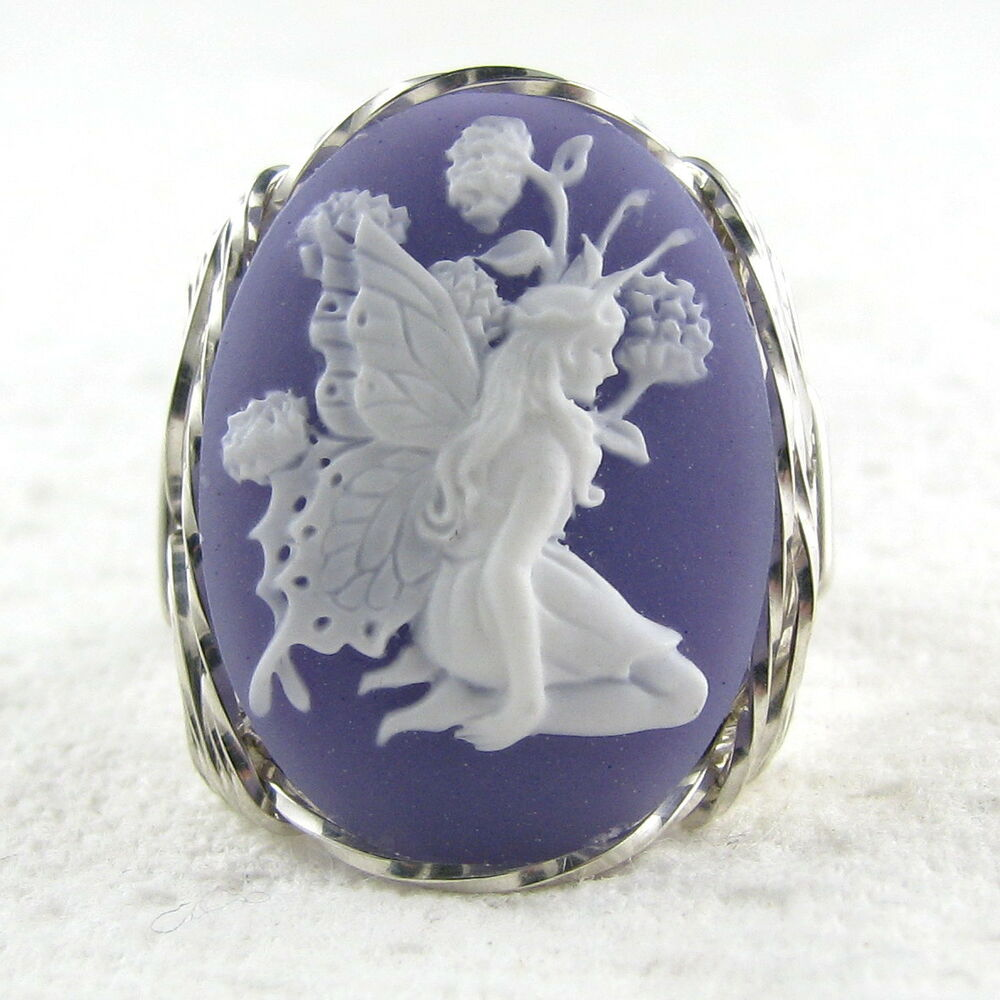 Custom Cameo Resin Pins Diy: Butterfly Fairy Purple Cameo Ring .925 Sterling Silver