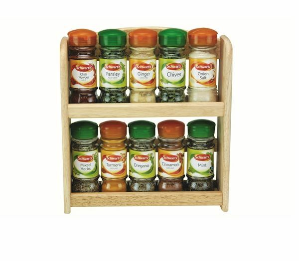 2 Tier 10 Jar Includes Spice Herb Filled Rack Wall Mounted