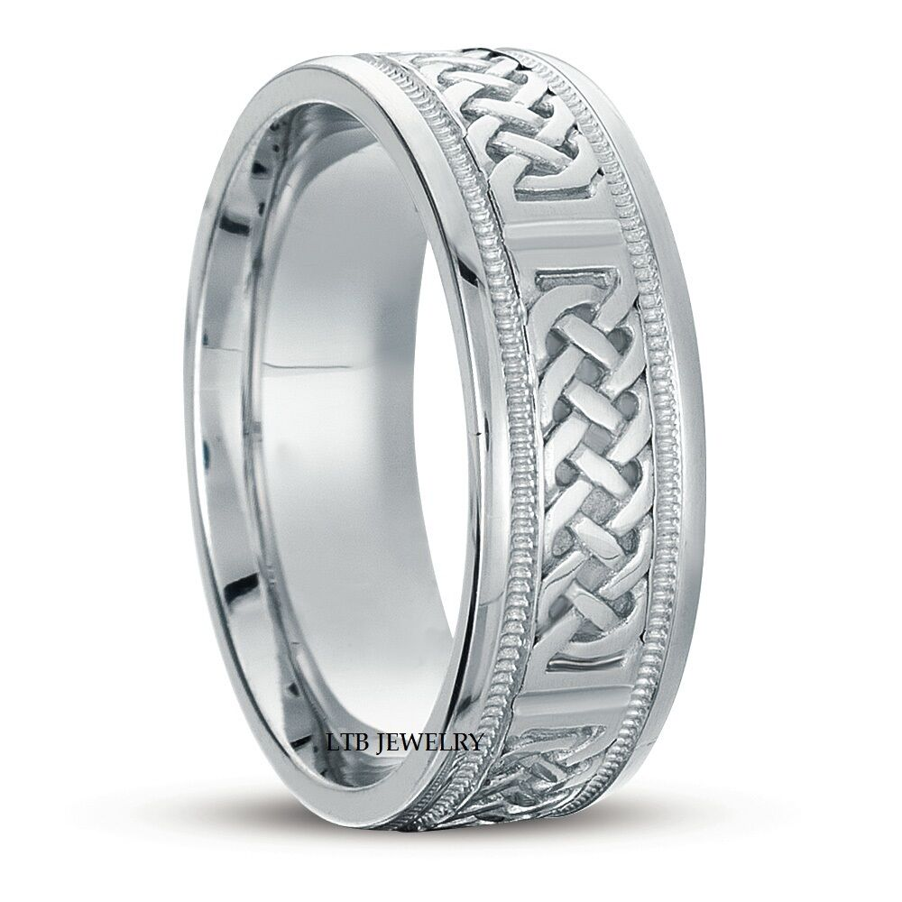 14k white solid gold mens celtic wedding bands rings