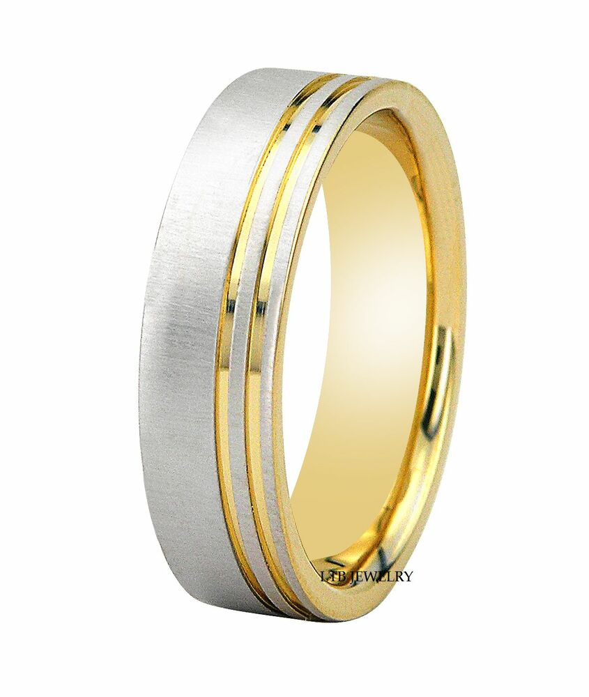 mens 14k two tone gold wedding bands rings 6mm white