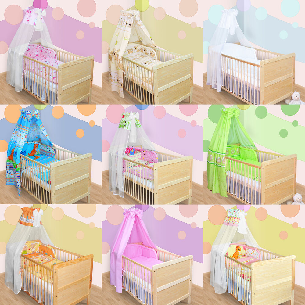 bettset himmelstange himmel nestchen babybettw sche f r babybett kinderbett neu ebay. Black Bedroom Furniture Sets. Home Design Ideas