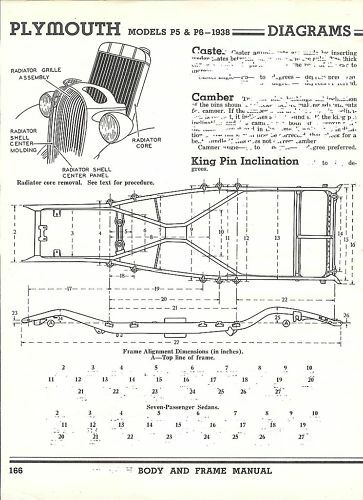 1938 plymouth p5 p6 frame dimensions alignment specs