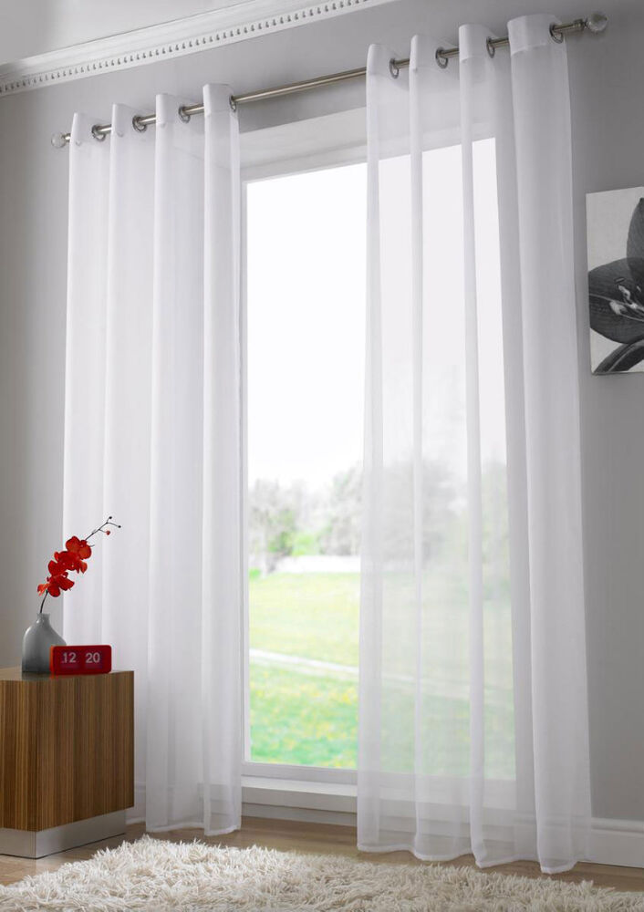 ring top eyelet voile panel curtain white ebay. Black Bedroom Furniture Sets. Home Design Ideas