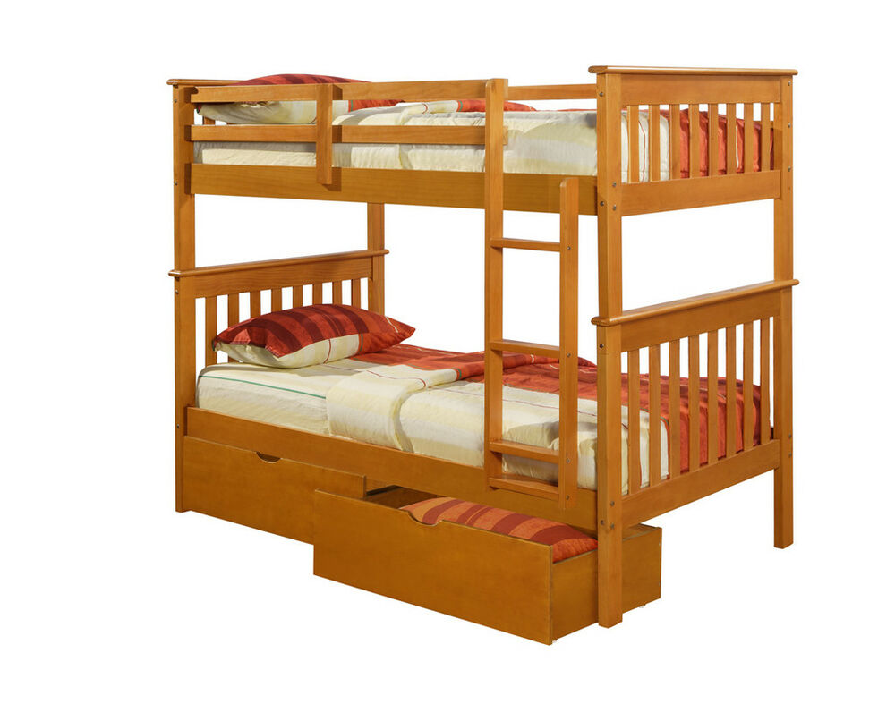 twin over twin mission bunk bed honey kids furniture ebay. Black Bedroom Furniture Sets. Home Design Ideas