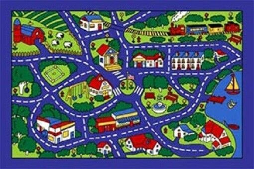 street map play rug kids 5 x 7 gel back area rug blue ebay